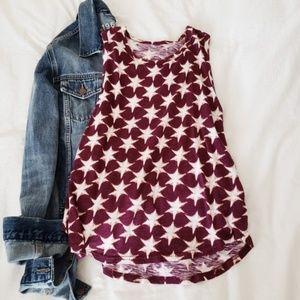 Lucky Brand maroon red Star tank sleeveless top